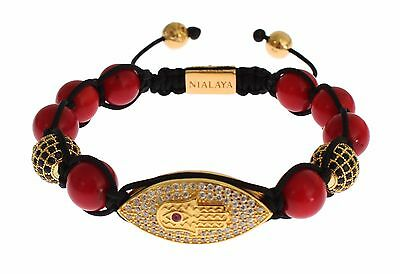 NWT $330 NIALAYA Authentic Bracelet Women CZ Red Coral Gold 925 Silver s. S