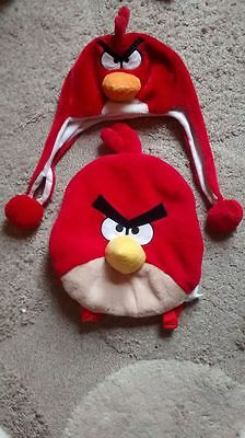 ANGRY BIRDS backpack rucksack and hat set red fleece soft