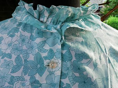 Housecoat St Michael 12/14 Terylene and Cotton Frills Floral Pale Green Vintage