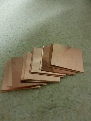 "Copper Squares 1-1/4"" Sheet  Jewelry Blanks Art Steampunk qty 5 pieces"