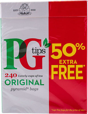 PG Tips 240 x Pyramid Tea Bags British 750g Worldwide Delivery