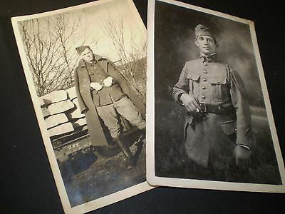 social history 1920's military men in uniforms two photo postcards