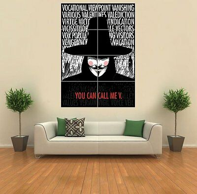 V For Vendetta Typography Quotes Giant Wall Art Print Picture Poster G1208