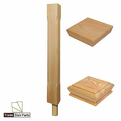 Stair Newel Peg Post - Stop Chamfered - Solid Wood - Pine