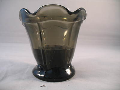 Smoke Glass Posy Vase With Permanent Frog Art Deco