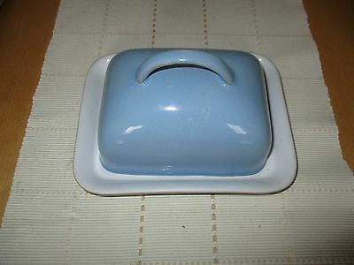 Denby colonial blue butter dish and lid