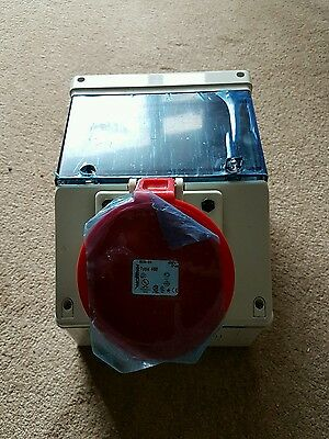 Unused , 63A 3 Phase Commando Socket Outlet with rcd