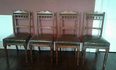 set of four walnut Victorian dining chairs