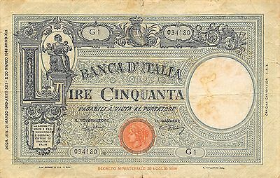 Italy 50 Lire  31.3.1943  Series G1  circulated Banknote E10A