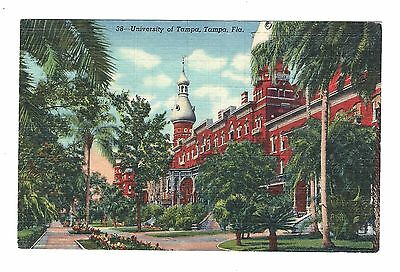 mjstampshobby 1951 USA University of Tampa Card Linen Antique Used (Lot550)