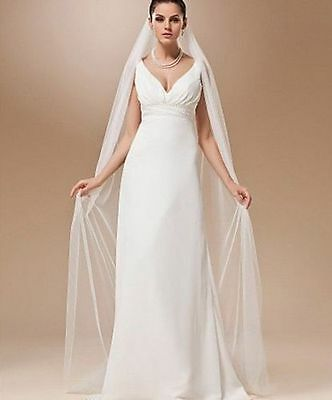 New White/Ivory 1T 3M Wedding Bridal Long Veil Cathedral With Comb