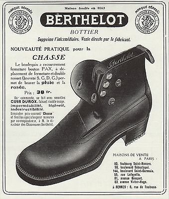 Publicite Chaussures Berthelot Bottier French Shoes  Ad 1911  Rare