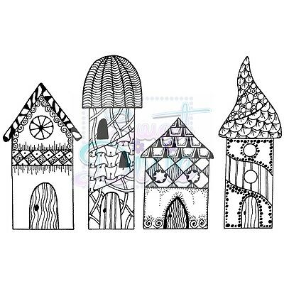 Sweet Dixie Clear Stamps Zendoodle RTG Houses by Lindsay Mason fairy journal art