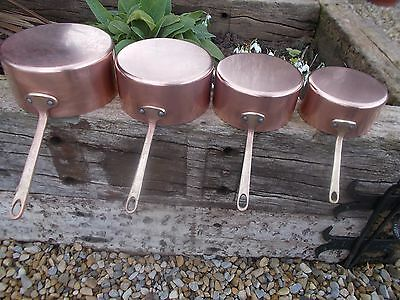 Fabulous Stamped Set 4 French Lined Copper Pans Ref T8/166