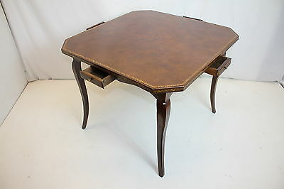 antiq French Provincial Louis XV Chestnut Leather Top Games Table with 4 Drawers