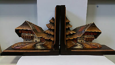 collectable vintage Wooden Black Forest Hand Carved Bookends