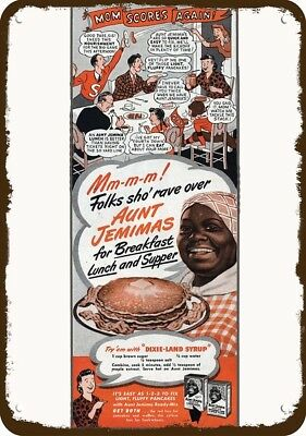 1945 AUNT JEMIMA Vintage Look Replica Metal Sign - BLACK AMERICANA SHO' RAVE