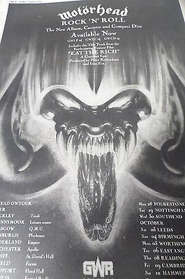 """Motorhead """"rock N Roll"""" Advert From 1987 With Tour Dates Gig Venues"""