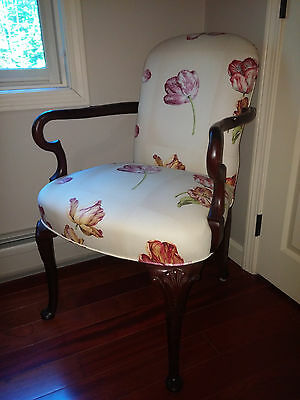 MAHOGANY ARM CHAIR Queen Anne Style Upholstered w/ Tulips - BEAUTIFUL!