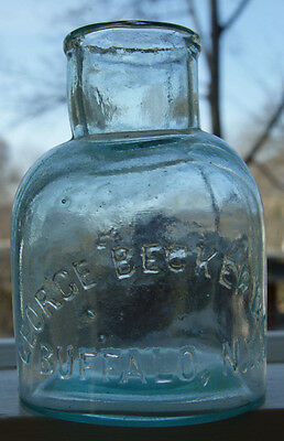 Vintage George Becker & CO Green Bottle Horseradish or Condiment about 8 oz Nice