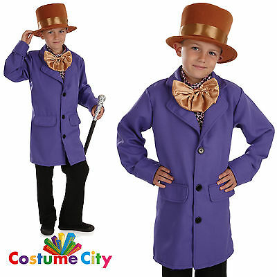 Childs Boys Chocolate Factory Owner WIlly Wonka Book Week Fancy Dress Costume
