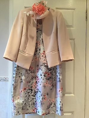 Jacques Vert ,Brides Mother Size 16 Dress And Fascinator with Debamhams Jacket