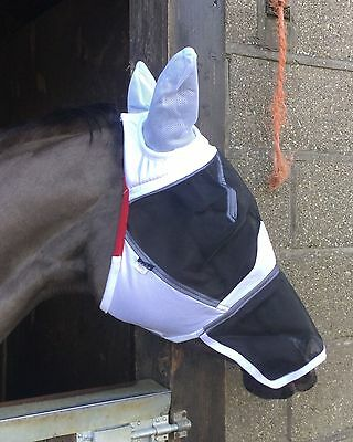 Shires fine mesh fly mask hood veil, full face, ears & nose extension 6654