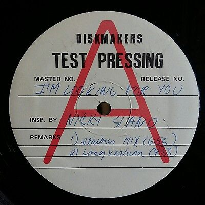 "Test Pressing Nicky Siano Rare Disco 12"" Single I'm Looking For You"
