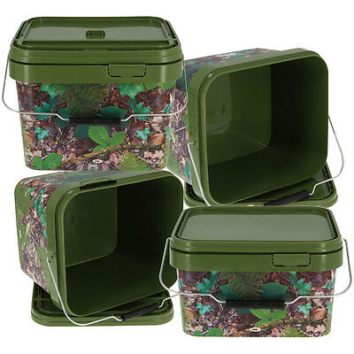2pc NGT Square Carp Coarse Bucket Set 5 & 10 Litres with Lid and Handle in Camo
