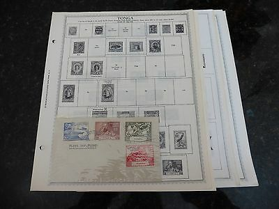M08 Lot of Tonga 36 Minkus binder Pages 1886-1978 with 6 stamps