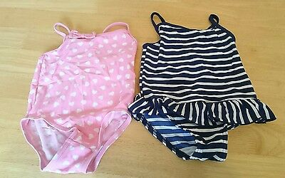 Baby Girls Swimsuit Swimming Costume x2 Size 9-12 months