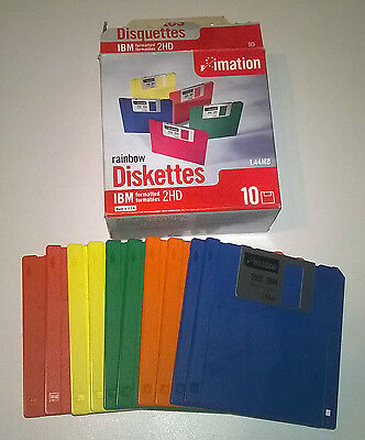 10 Pack Imation Rainbow Diskettes IMB Formatted 2HD - Floppy Discs / Disks
