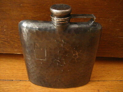 Antique Vintage Apollo Silver Co Hammered Pocket Hip Flask Whiskey
