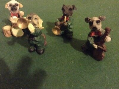 """Set of four cute dog figuirine statues playing instruments height 2.5"""" approx"""