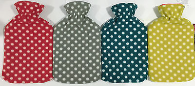 New Soft 2Liter & 500Ml Hot Water Bottles With Removable Dotted Fleece Covers