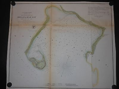 Bellingham Bay Washington Territory 1856 Map Hand Colored U S Cost Survey