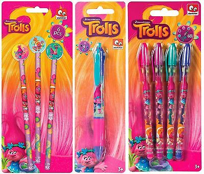 Trolls Girls Glitter Gel Ballpoint Pen Pencil Eraser Kids School Stationery Art