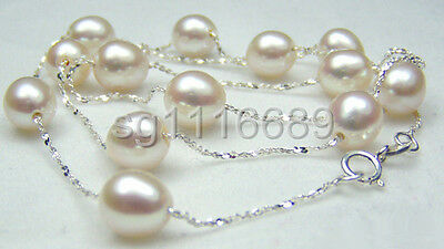 Genuine 9-10mm White Pearl 925 Sterling Silver Chain Necklace