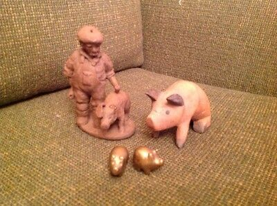 Ceramic Farmer Figure With Pig,wooden Pig And Two Brass Pigs