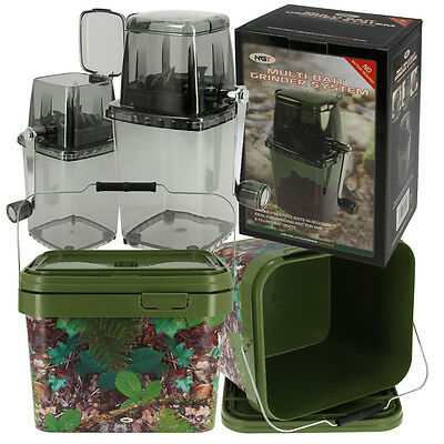 NGT Boilie Bait Crusher Grinder + 10L Carp Coarse Fishing Camo Bucket with Lid