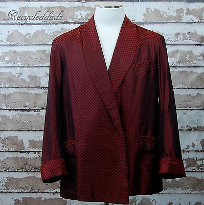 Vtg Brooks Brothers Silk Smoking / Pajama Jacket Red Houndstooth XL size