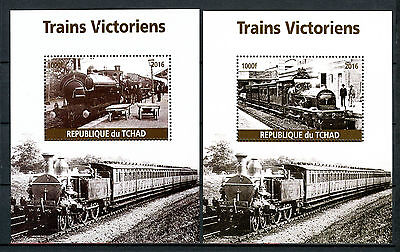 Chad 2016 MNH Victorian Trains Steam Engines Locomotives 2x 1v M/S Rail Stamps