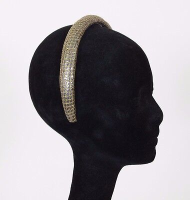Nina Ricci Paris 1980's Vintage Gold and Silver Sparkle Puffy Designer Headband