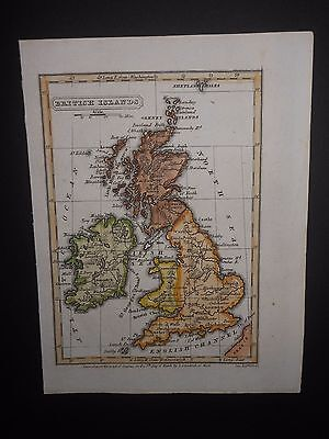 British Islands Isles England Scotland Ireland Wales 1835 Hand Colored Map
