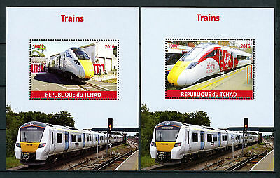 Chad 2016 MNH Modern High Speed Trains 2x 1v M/S Virgin Azuma Railways Stamps