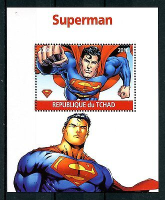 Chad 2016 MNH Superman 1v M/S Comics Cartoons Superheroes Stamps