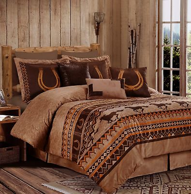 7pcs Southwestern Cabin Lodge Wild Horses Microsuede Brown Comforter Set, Queen