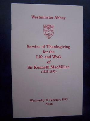 sir Kenneth MacMillan - Celebration of Life program  Social History - Ephemera