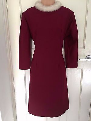 1960's Vintage Dark Red Long Sleeve Faux Fur Trim Evening Party Shift Dress 14