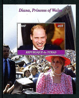 Chad 2016 CTO Diana Princess of Wales Prince William 1v M/S II Royalty Stamps